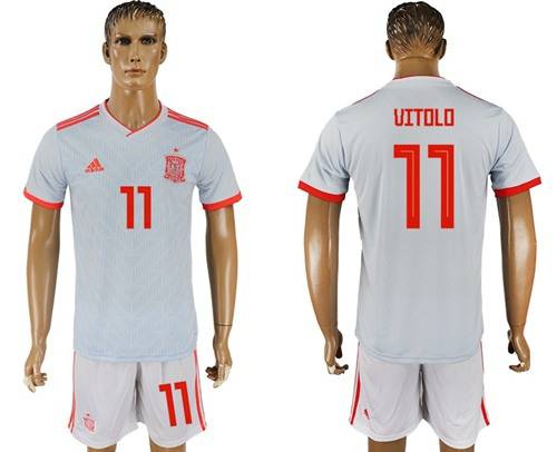 Spain #11 Vitolo Away Soccer Country Jersey