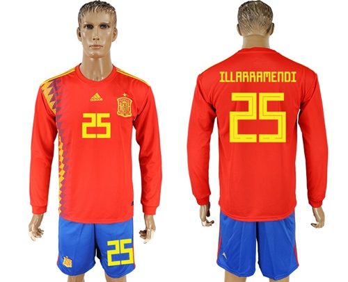 Spain #25 Illarramendi Red Home Long Sleeves Soccer Country Jersey