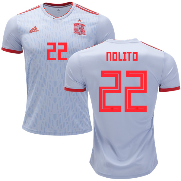 Spain #22 Nolito Away Soccer Country Jersey