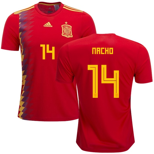 Spain #14 Nacho Home Soccer Country Jersey