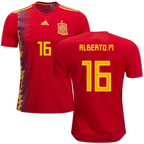 Spain #16 Alberto M. Home Soccer Country Jersey