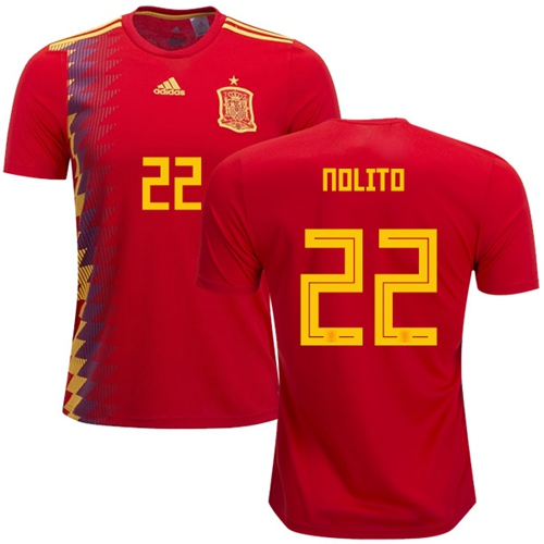 Spain #22 Nolito Home Soccer Country Jersey