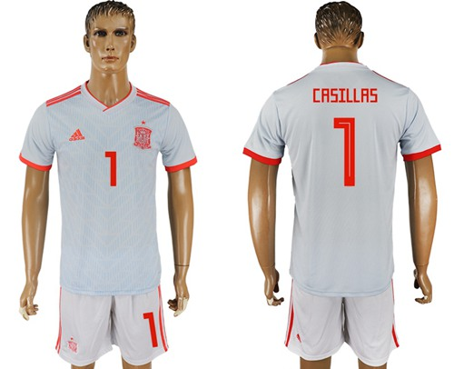 Spain #1 Casillas Away Soccer Country Jersey