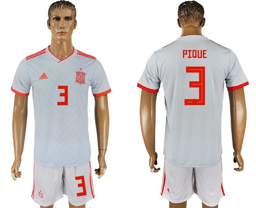Spain #3 Pique Away Soccer Country Jersey