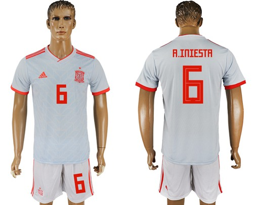 Spain #6 A.Iniesta Away Soccer Country Jersey
