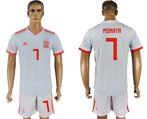 Spain #7 Morata Away Soccer Country Jersey