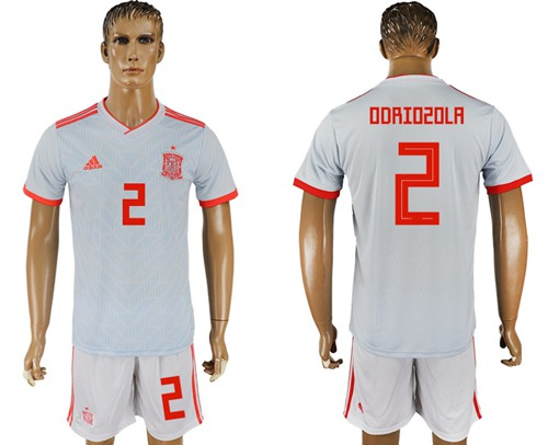 Spain #2 Odriozola Away Soccer Country Jersey