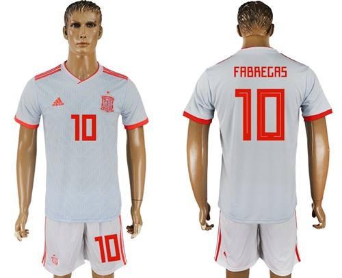 Spain #10 Fabregas Away Soccer Country Jersey