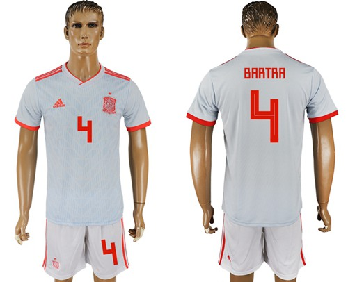 Spain #4 Bartra Away Soccer Country Jersey