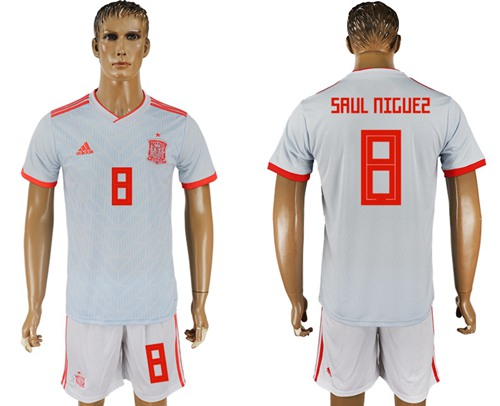 Spain #8 Saul Niguez Away Soccer Country Jersey