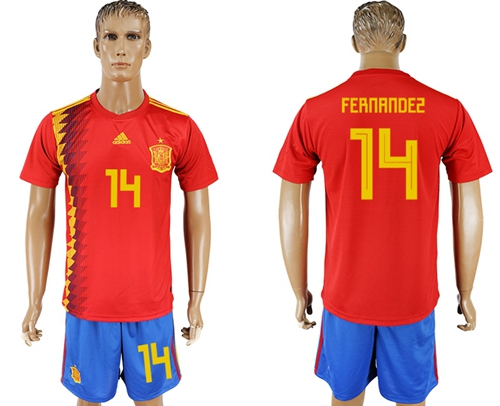 Spain #14 Fernandez Home Soccer Country Jersey