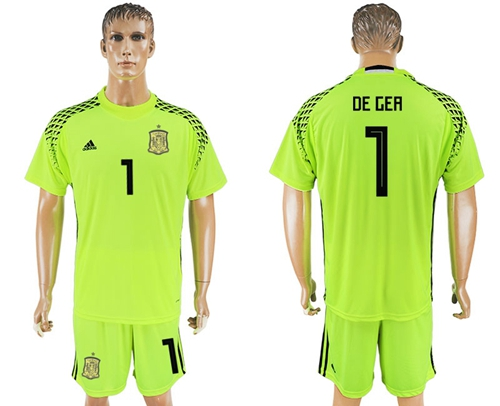 Spain #1 De Gea Shiny Green Goalkeeper Soccer Country Jersey
