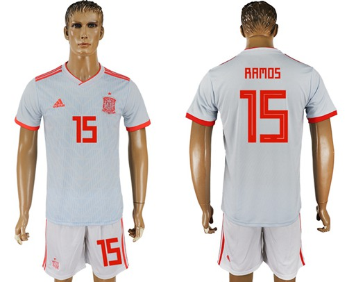 Spain #15 Ramos Away Soccer Country Jersey