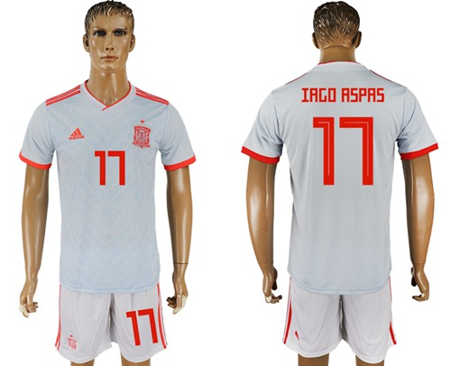 Spain #17 Iago Aspas Away Soccer Country Jersey