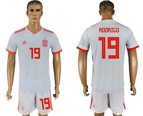 Spain #19 Rodrigo Away Soccer Country Jersey