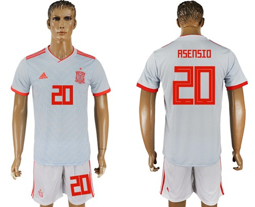 Spain #20 Asensio Away Soccer Country Jersey