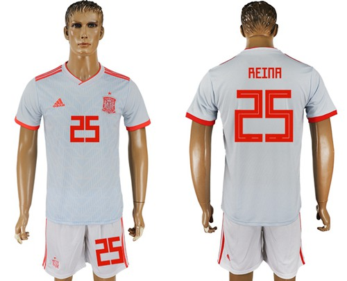Spain #25 Reina Away Soccer Country Jersey