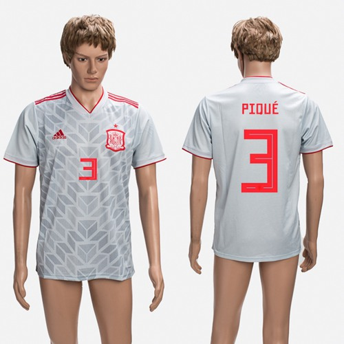 Spain #3 Pique Grey Training Soccer Country Jersey