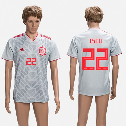 Spain #22 Isco Grey Training Soccer Country Jersey