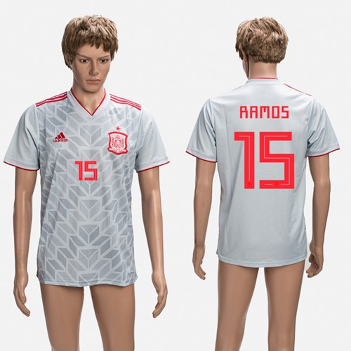 Spain #15 Ramos Grey Training Soccer Country Jersey