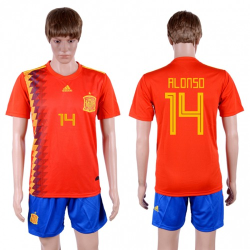 Spain #14 Alonso Home Soccer Country Jersey
