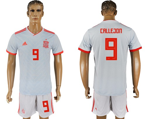 Spain #9 Callejon Away Soccer Country Jersey