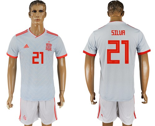 Spain #21 Silva Away Soccer Country Jersey