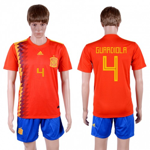 Spain #4 Guardiola Home Soccer Country Jersey