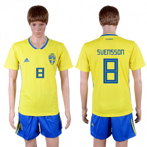 Sweden #8 Svensson Home Soccer Country Jersey