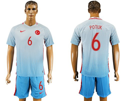 Turkey #6 Potuk Away Soccer Country Jersey