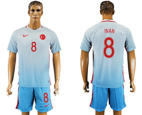 Turkey #8 INAN Away Soccer Country Jersey