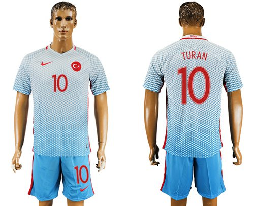Turkey #10 Turan Away Soccer Country Jersey