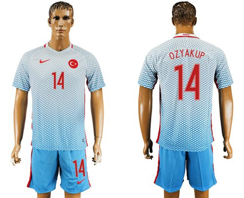 Turkey #14 Ozyakup Away Soccer Country Jersey