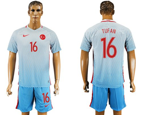 Turkey #16 Tufan Away Soccer Country Jersey