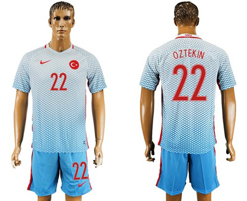 Turkey #22 Oztekin Away Soccer Country Jersey