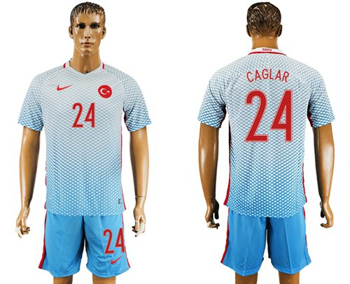 Turkey #24 Caglar Away Soccer Country Jersey