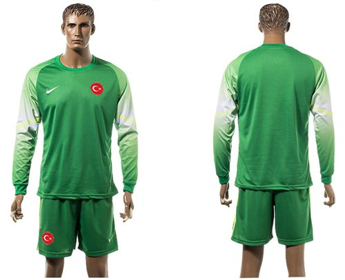 Turkey Blank Green Goalkeeper Long Sleeves Soccer Country Jersey