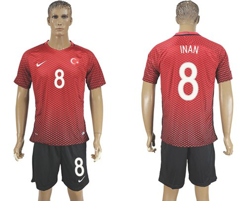 Turkey #8 INAN Home Soccer Country Jersey