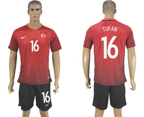 Turkey #16 Tufan Home Soccer Country Jersey
