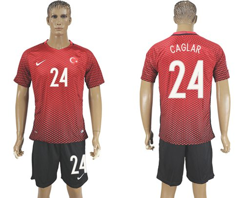 Turkey #24 Caglar Home Soccer Country Jersey