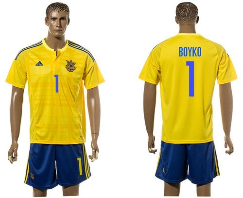 Ukraine #1 Boyko Home Soccer Country Jersey