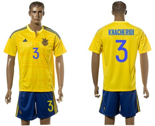 Ukraine #3 Khaceridi Home Soccer Country Jersey