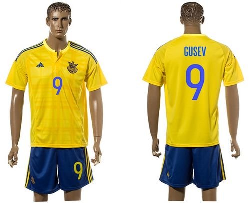 Ukraine #9 Gusev Home Soccer Country Jersey