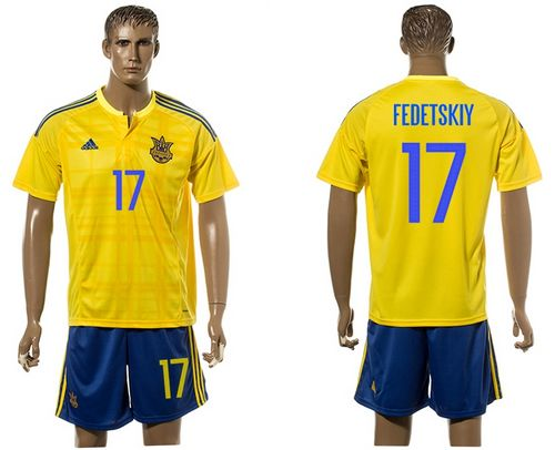 Ukraine #17 Fedetskiy Home Soccer Country Jersey