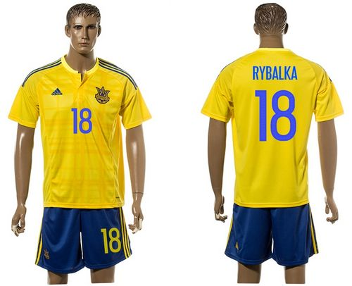 Ukraine #18 Rybalka Home Soccer Country Jersey