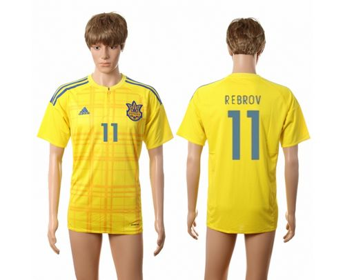 Ukraine #11 Rebrov Home Soccer Country Jersey