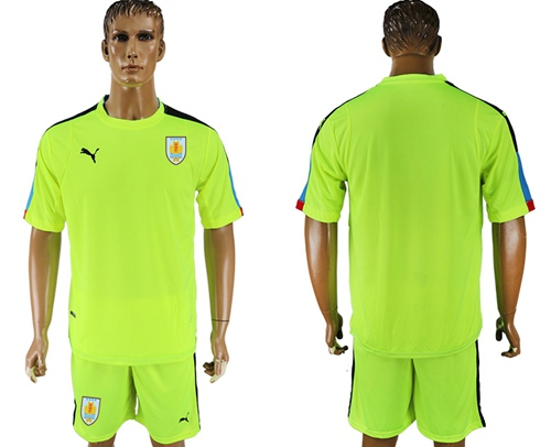 Uruguay Blank Shiny Green Goalkeeper Soccer Country Jersey