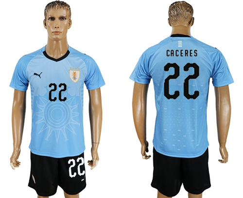 Uruguay #22 Caceres Home Soccer Country Jersey