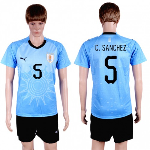 Uruguay #5 C.Sanchez Home Soccer Country Jersey