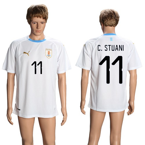 Uruguay #11 C.Stuani Away Soccer Country Jersey